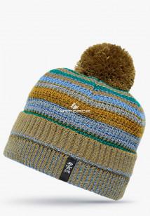 Купить оптом вязанную шапку зимнюю коричневого цвета в интернет магазине MTFORCE 5545K