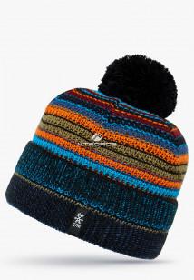 Купить оптом вязанную шапку зимнюю темно-синего цвета в интернет магазине MTFORCE 5545TS