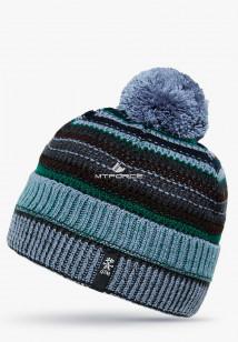 Купить оптом вязанную шапку зимнюю голубого цвета в интернет магазине MTFORCE 5545Gl
