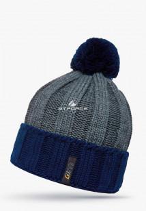 Купить оптом шапки зимние мужская темно-синего цвета 5548TS в интернет магазине MTFORCE.RU