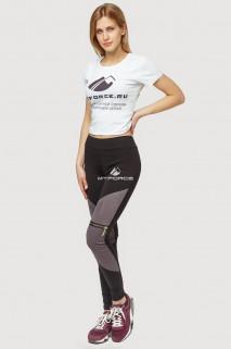Купить оптом брюки легинсы женские серого цвета 056Sr  в интернет магазине MTFORCE.RU