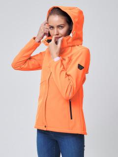 Купить оптом женскую осеннюю весеннюю ветровку softshell оранжевого цвета в интернет магазине MTFORCE 2038O