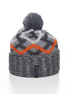 Купить оптом вязанную шапку зимнюю серого цвета в интернет магазине MTFORCE 5902Sr