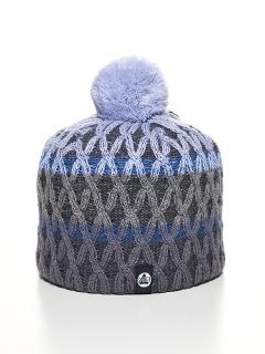 Купить оптом вязанную шапку зимнюю голубого цвета в интернет магазине MTFORCE 5925Gl
