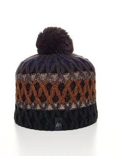 Купить оптом вязанную шапку зимнюю коричневого цвета в интернет магазине MTFORCE 5925K