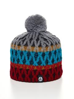 Купить оптом вязанную шапку зимнюю бордового цвета в интернет магазине MTFORCE 5925Bo