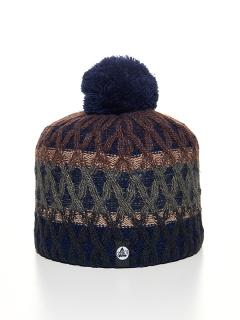 Купить оптом вязанную шапку зимнюю темно-синего цвета в интернет магазине MTFORCE 5925TS