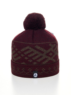 Купить оптом вязанную шапку зимнюю бордового цвета в интернет магазине MTFORCE 5926Bo