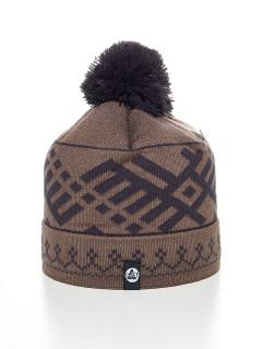 Купить оптом вязанную шапку зимнюю коричневый цвета в интернет магазине MTFORCE 5926K