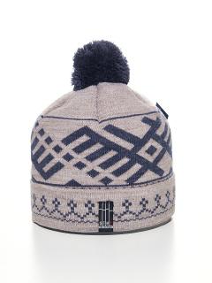 Купить оптом вязанную шапку зимнюю бежевый цвета в интернет магазине MTFORCE 5926-1B