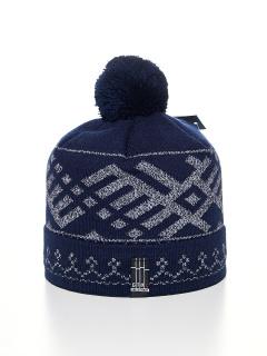 Купить оптом вязанную шапку зимнюю темно-синего цвета в интернет магазине MTFORCE 5926-2TS