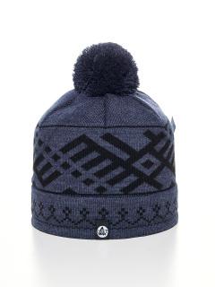 Купить оптом вязанную шапку зимнюю синего цвета в интернет магазине MTFORCE 5926-1S