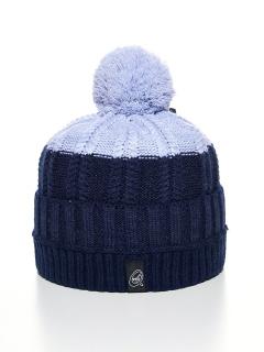 Купить оптом вязанную шапку зимнюю темно-синего цвета в интернет магазине MTFORCE 5927TS