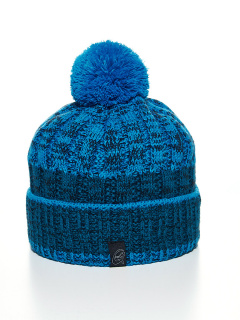 Купить оптом вязанную шапку зимнюю голубого цвета в интернет магазине MTFORCE 5927Gl