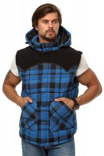 Купить оптом жилетка мужская утепленная синего цвета 666S в интернет магазине MTFORCE.RU