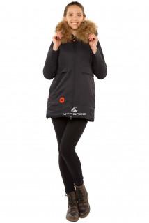 Купить оптом куртку парку с натуральным мехом енот темно-синего цвета 7099TS в интернет магазине MTFORCE.RU