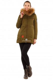 Купить оптом куртку парку с натуральным мехом енот цвета хаки 7099Kh в интернет магазине MTFORCE.RU