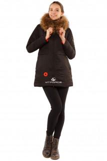 Купить оптом куртку парку с натуральным мехом енот черного цвета 7099Ch в интернет магазине MTFORCE.RU