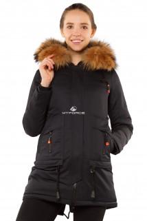 Купить оптом куртку парку с натуральным мехом енот темно-синего цвета 7170TS в интернет магазине MTFORCE.RU