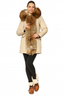 Купить оптом куртку парку женскeю зимнию с натуральным мехом бежевого цвета 7234B в интернет магазине MTFORCE.RU