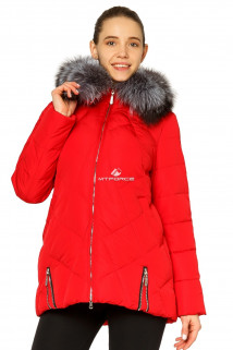 Купить оптом куртку зимнюю женскую с натуральным мехом красного цвета 7302Kr в интернет магазине MTFORCE.RU