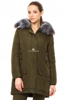 Купить оптом куртку парку женскую большого размера цвета хаки 7351Kh в интернет магазине MTFORCE.RU