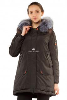 Купить оптом куртку парку женскую большого размера черного цвета 7351Ch в интернет магазине MTFORCE.RU
