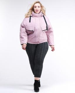 Купить оптом женскую зимнюю классику куртку большого размера розового цвета в интернет магазине MTFORCE 74-903_1R