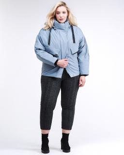 Купить оптом женскую зимнюю классику куртку большого размера серого цвета в интернет магазине MTFORCE 74-903_2Sr