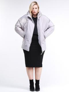 Купить оптом женскую зимнюю классику куртку стеганную серого цвета в интернет магазине MTFORCE 76-912_46Sr