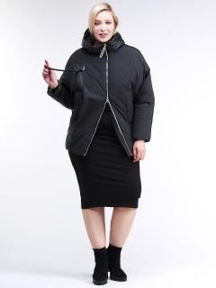 Купить оптом женскую зимнюю классику куртку стеганную черного цвета в интернет магазине MTFORCE 76-912_701Ch