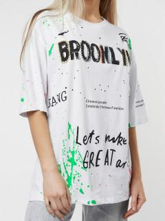 Купить футболки женские с принтом оптом от производителя дешево 76102Bl