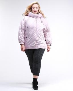 Купить оптом женскую зимнюю классику куртку большого размера розового цвета в интернет магазине MTFORCE 78-902_1R