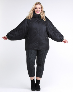 Купить оптом женскую зимнюю классику куртку большого размера черного цвета в интернет магазине MTFORCE 78-902_701Ch