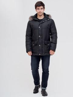 Купить оптом мужскую зимний пуховик из чернобурки черного цвета в интернет магазине MTFORCE 8035Ch