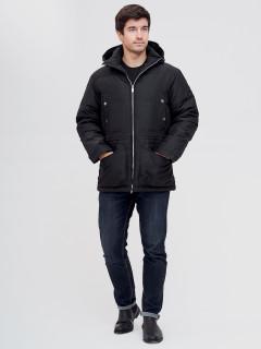 Купить оптом мужскую зимний пуховик черного цвета в интернет магазине MTFORCE 8041Ch