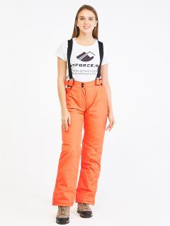 Горнолыжные брюки женские зимние персикового цвета купить оптом в интернет магазине MTFORCE 818P