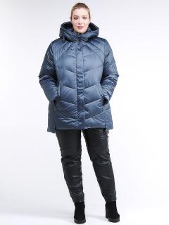 Купить оптом женскую зимнюю классику куртку большого размера синего цвета в интернет магазине MTFORCE 85-923_49S