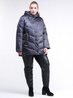 Купить оптом женскую зимнюю классику куртку большого размера темно-фиолетового цвета в интернет магазине MTFORCE 85-923_889TF