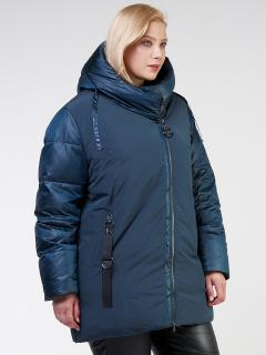 Купить оптом женскую зимнюю классику куртку большого размера темно-зеленного цвета в интернет магазине MTFORCE 85-951_079TZ