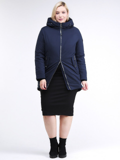 Купить оптом женскую зимнюю классику куртку большого размера темно-синего цвета в интернет магазине MTFORCE 86-801_16TS