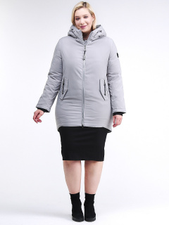 Купить оптом женскую зимнюю классику куртку большого размера серого цвета в интернет магазине MTFORCE 86-801_20Sr