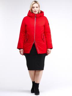Купить оптом женскую зимнюю классику куртку большого размера красного цвета в интернет магазине MTFORCE 86-801_4Kr