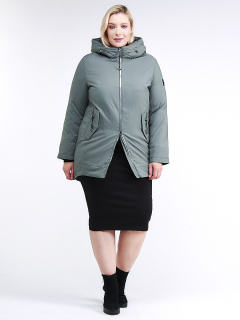 Купить оптом женскую зимнюю классику куртку большого размера цвета хаки в интернет магазине MTFORCE 86-801_7Kh