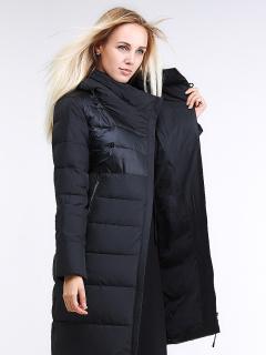 Купить оптом женскую зимнюю молодежную куртку стеганную черного цвета в интернет магазине MTFORCE 870_01Ch