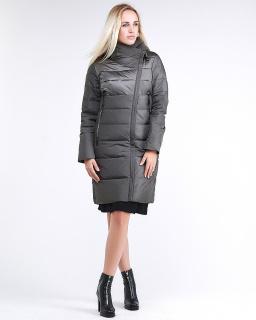 Купить оптом женскую зимнюю молодежную куртку стеганную светло-серого цвета в интернет магазине MTFORCE 870_05SS