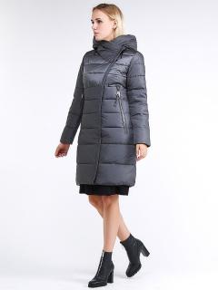 Купить оптом женскую зимнюю молодежную куртку стеганную серого цвета в интернет магазине MTFORCE 870_11Sr