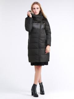Купить оптом женскую зимнюю молодежную куртку стеганную темно-серого цвета в интернет магазине MTFORCE 870_13TC