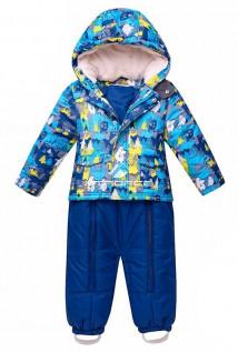 Купить оптом костюм горнолыжный детский синего цвета 8701S в интернет магазине MTFORCE.RU