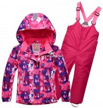 Купить оптом костюм горнолыжный детский розового цвета 8711R в интернет магазине MTFORCE.RU